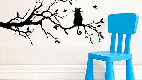 Samolepka na zeď - Kočička na větvi