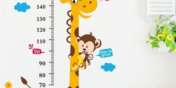 Samolepka na zeď - Dětský metr se zvířátky - dodání do 2 dnů