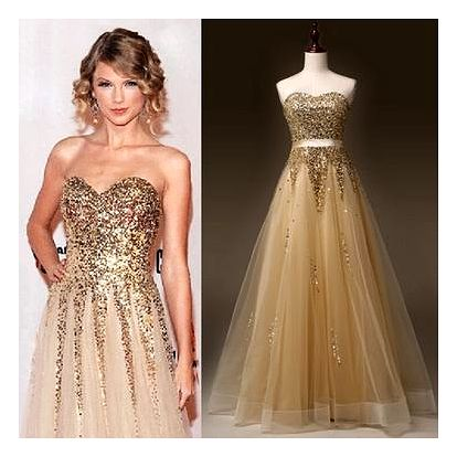 Zlaté společenské šaty