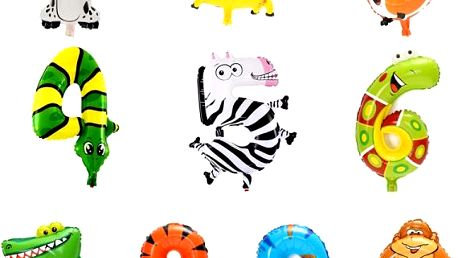 Balonky s motivy zvířátek a čísel - 1ks - poštovné zdarma