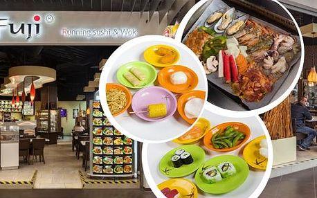 Slevový kupon na Running Sushi - All You Can Eat včetně grilování přímo na Vašem stole. Navštivte restauraci Fuji a během 3 hodin hodujte a ochutnávejte dle libosti cokoliv, co Vám na běžícím pásu padne do oka.Sushi, saláty, ovoce, dezerty a navíc maso a