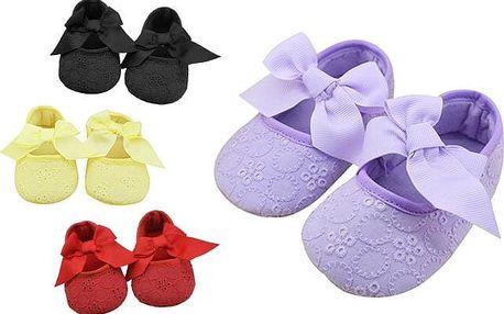 Dívčí botičky s výraznou mašlí v různých barvách