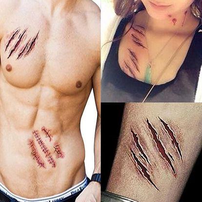 Dočasné tetování - krvavé šrámy - 3 ks