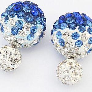 Kulovité náušnice s barevnými kamínky - poštovné zdarma