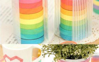 10 rolí barevných lepicích pásek z papíru