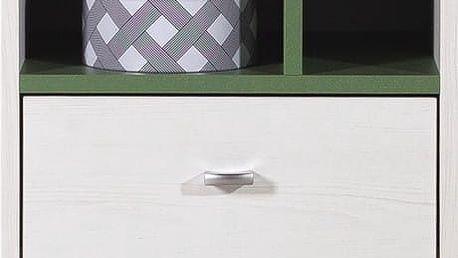 Stone - Noční stolek ST13 (bílá, zelená)