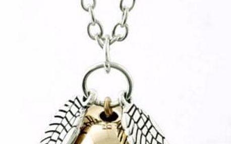 Náhrdelník s andělskými křídly a perlou