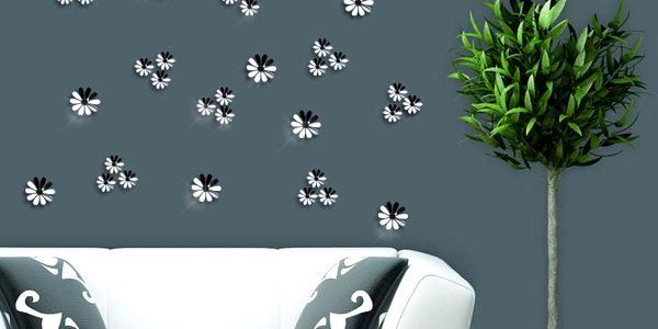 Sada 12 adhezivních 3D samolepek Ambiance Flowers Chic Mirror