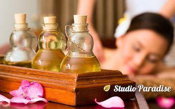 Hodinová aromaterapeutická masáž šíje, ramen, zad i nohou ve studiu Paradise v Ostravě