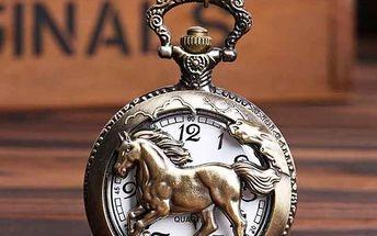 Retro kapesní hodinky s motivem koně - poštovné zdarma