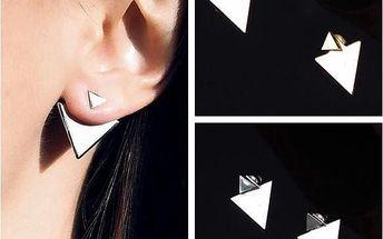 Trojúhelníkové náušnice ve dvou barvách
