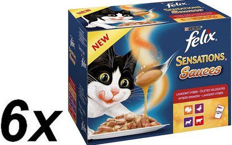 Felix Sensations Sauces 6 x (12 x 100g) výběr v ochucených omáč. s hovězím, jehněčím, krůtou a kachnou