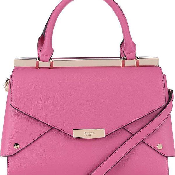 Růžová kabelka do ruky s detaily ve zlaté barvě Dune London Delaney