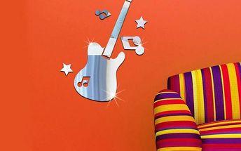 Zrcadlová dekorace na zeď - Kytara