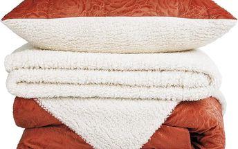 Hřejivá beránková souprava Luxury oranžová, 140 x 200 cm, 70 x 90 cm, 90 x 200 cm