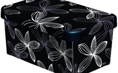 Plastový úložný box DECO - S- black flower CURVER