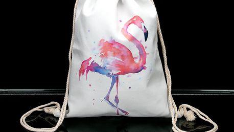 Sportovní vak bílý slon a flamingo