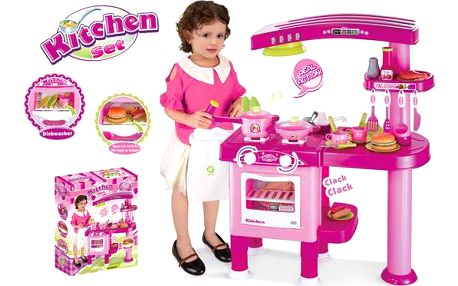 Dětská kuchyňka G21 velká s příslušenstvím růžová