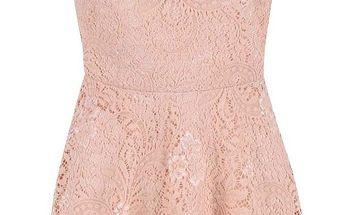 Světle růžové krajkované šaty Vero Moda Celeb