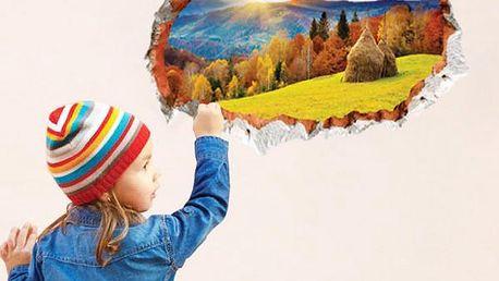 3D samolepka na zeď - Pohled do údolí - skladovka - poštovné zdarma