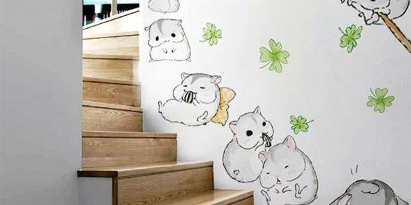 Samolepka na zeď - Veselí křečci