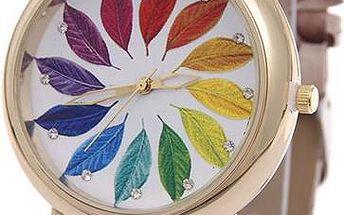 Dámské hodinky s barevnými lístky