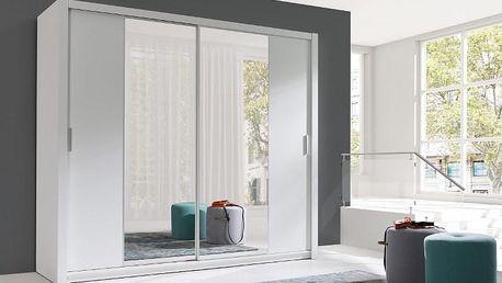 Luxusní šatní skříň s posuvnými dveřmi VISTA 220 bílý mat
