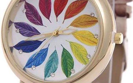 Dámské hodinky s barevnými lístky - poštovné zdarma