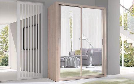 Luxusní šatní skříň s posuvnými dveřmi VISTA 150 sonoma