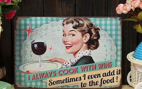 Plechová retro cedule pro milovnice vína