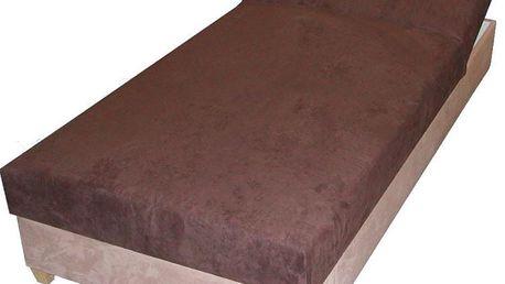Postel NATALY, 198x90 cm, čalouněná, hnědá