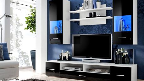 RENO, obývací stěna, bílá/černý lesk