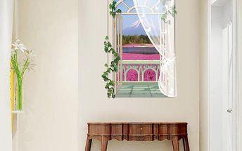 3D samolepka s dlouhým oknem - růžové pole na úpatí hory - dodání do 2 dnů