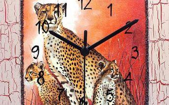 Dekorativní nástěnné hodiny Gepardí rodinka