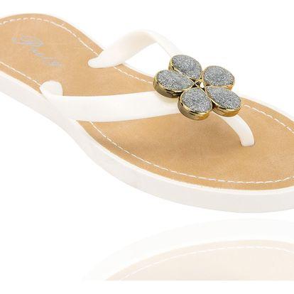 Dámské žabky Prety zlatá kovová kytka