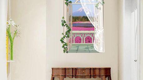 3D samolepka s dlouhým oknem - růžové pole na úpatí hory - skladovka - poštovné zdarma