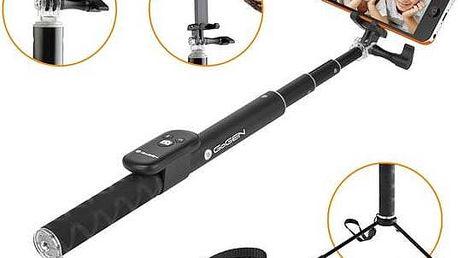 Selfie tyč GoGEN 4 teleskopická, bluetooth (GOGBTSELFIE4B) černá + Rukavice GoGEN pro dotykové displeje, velikost M - červené v hodnotě 199 Kč + Doprava zdarma