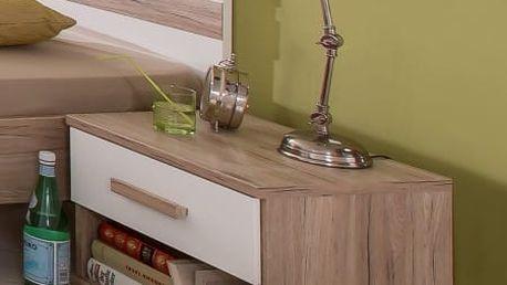 Cariba - Noční stolek (san remo dub, bílá)