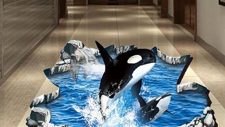 3D samolepka na podlahu - Dvě kosatky