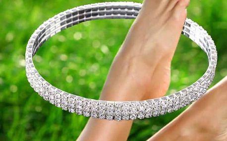 Náramek na nohu s kamínky z broušeného skla