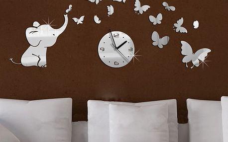 Originální nástěnné hodiny se sloníkem a motýly - dodání do 2 dnů