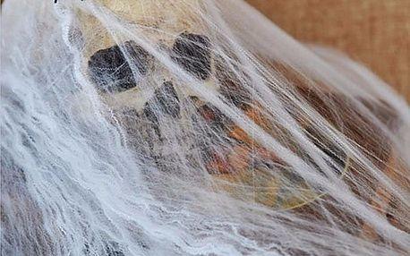 Halloweenská dekorace - Svítící pavučina s pavouky