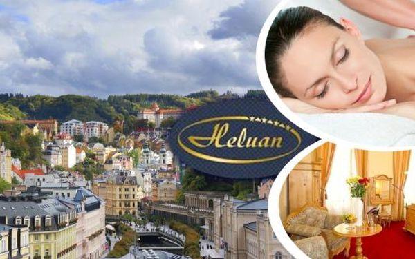 Lázně Karlovy Vary - romantický pobyt v komfortním 4* hotelu Heluan pro dva na 3 dny s polopenzí a procedurami v samém srdci světoznámého lázeňského města. Wellness balíčky na míru - masáže, zábaly, masky. Navíc vstup do bazénového komplexu Alžbětiny Lázn
