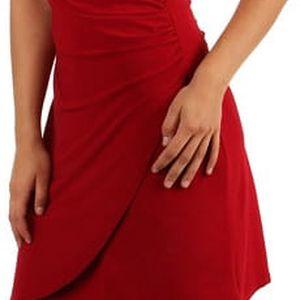 Dámské šaty se zavinovacím efektem pro plnoštíhlé červená