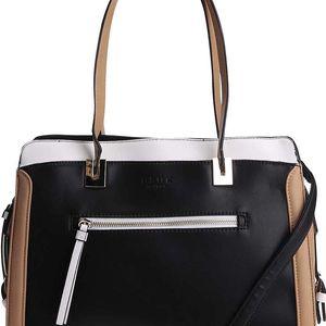 Bílo-černá kabelka s hnědými detaily DSUK
