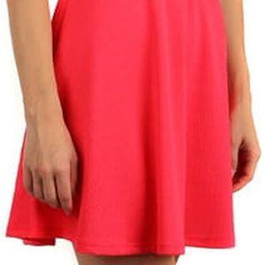 Barevné šaty s krajkou a páskem v pase světle růžová