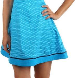 Retro šaty s puntíky a stuhou v pase modrá