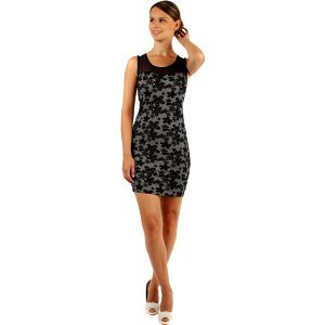 Šaty s květinovým vzorem a průhlednými rameny černá