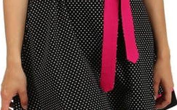 Retro šaty s puntíky a stuhou v pase červená