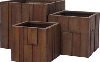 Květináč G21 Wood Cube 36x36x34cm